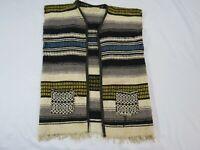 Mexican Blanket Serape Vest Biker Hippy Boho Multicolor Stripes Vintage