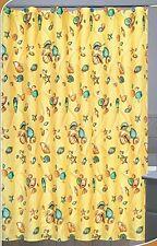 Aruba Yellow Fabric Shower Curtain with 12 Resin Shower Rings, Beach Seashells