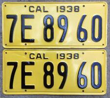 1938 California license plate pair 7E 89 60 YOM DMV clear Ford Chevy Cadillac