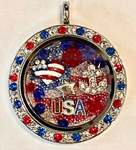 ❤️Authentic Origami Owl - Fourth of July 🧨 Large Crystal Locket & Charms POP!❤️