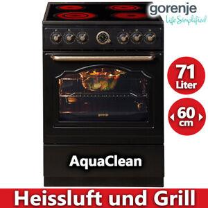 Retro Stand Herd Glaskeramik Kochfeld Elektro Backofen Heißluft Grill schwarz