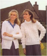 Ladies Mohair Bobble Panel Cardigan PoloNeck Aran-style Sweater Knitting Pattern