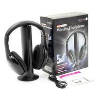 5in1 Hi-Fi Wireless Headphones Earphone Headset for PC Laptop TV FM Radio MP3
