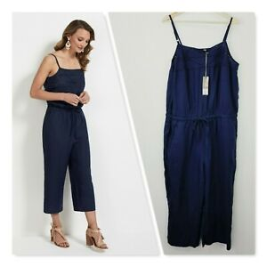 [ SUSSAN ] Womens French Navy Linen Jumpsuit NEW + TAGS RRP$149.95   Size AU 18