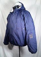 Rare Vtg Adidas Coat Blue Full Zip Trefoil Patch Hooded Men's Size Medium