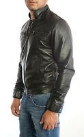 UK Man Men GENUINE Leather Jacket Biker Coat Slim Fit Veste Homme Cuir 3S9p