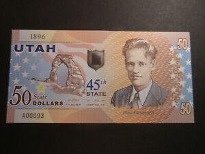 US STATES SERIES POLYMER $50 - 45th STATE - UTAH 1896 - BRAND NEW