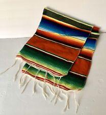 "Mexican Sarape Table Runner 61""X11"",Party Decor Rainbow Stripes Southwestern"