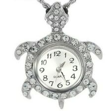 Silver Crystal Turtle Pendant Necklace Watch 18mm Snap In Watch