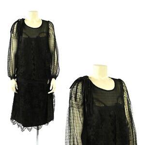 Vintage 20s Black Sheer Polka Dot + Floral Lace Drop Waist Evening Shift Dress S