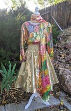 New listing Vtg Diane Freis Designer 80's Silk Dress 1Sz Metallic Skirt Beaded w Scarf Guc!