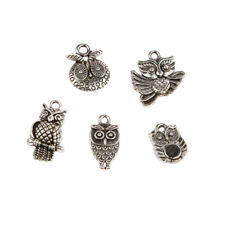 30Pcs Mixed Tibetan Silver Owl Charms Pendant Bead DIY Jewelry Making Craft