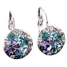 HK- Women Fashion Cubic Zirconia Full Crystal Leverback Silver Alloy Earrings Sa