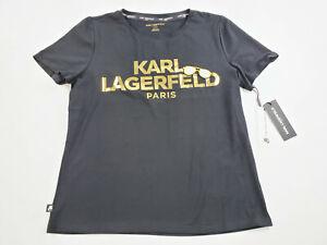 new Karl Lagerfeld Paris women tee t-shirt L1UH0040 black sunglasses sz M $49.50
