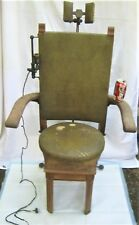 ANTIQUE USA PRIMITIVE INDUSTRIAL WOOD LAMP IRON DENTIST DENTAL CHAIR SCIENCE ART