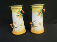 VINTAGE PAIR VASES TRICO NAGOYA JAPAN HAND PAINTED 7 1/4 BERRIES FRUIT