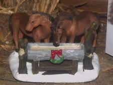 CHRISTMAS VILLAGE LIGHTED HOUSE FARM ACCESSORY HORSES FEEDING TROUGH FIGURINE