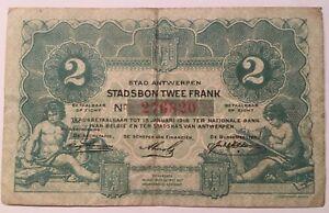 Anvers Antwerpen Bon Communal Stadsbon 2 Francs 1916