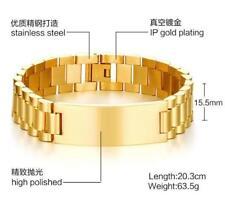 Men Women Stainless Steel Fashion Link Chain ID Bracelet Gold 15.5mm 8.05'' 60g