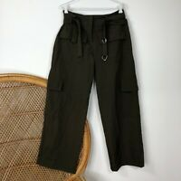 Morgan Marks Pants Size 10 S Khaki Green Made In Australia Loose Leg