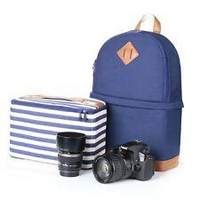 Lady's Waterproof Canvas DSLR SLR Camera Bag Insert Padding Case Travel Backpack