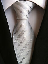 (NT100) 100% soie Blanc Gris Argent Hommes 8 cm Cravate BUREAU Business Party Tie