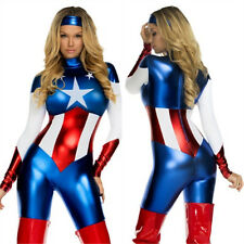 Captain America Costume Superhero Catsuit Fancy Dress Halloween Women Cosplay