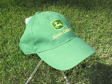 JOHN DEERE GREEN COTTON BASEBALL CAP w/ YELLOW EMBROIDED LOGO -ONE SIZE-NEW