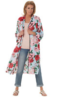 Laurie Felt X-Small Printed Kimono Duster Blue Floral XS