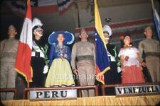 Miss Peru & Venuzuela Colorful Costumes US Marine Guards 1950s Slide Photo
