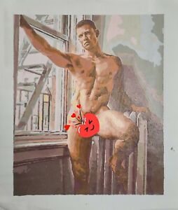 Ruslan Angelo Nude Male Figure Oil Acrylic Painting on Canvas