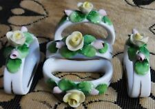 SET OF 5 VINTAGE KAISER GERMANY PORCELAIN NAPKIN RINGS YELLOW ROSES PINK FLOWERS