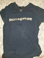 Rocawear Womens Medium M Graphic Black Shirt Top Blouse