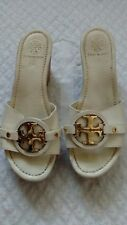 Auth Tory Burch Beige Wedge Shoes Womens Size 7.5 Made In Brazil