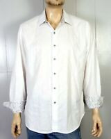 euc Robert Graham Men's White Embroidered Dress Shirt Gray Geom Flip Cuff sz XL