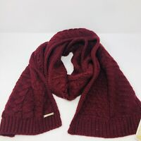 Michael Kors Womens One Size Patchwork Cable Knit Muffler Scarf Dark Red $68 059