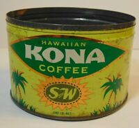 Old Vintage 1950s S&W KONA HAWAII COFFEE GRAPHIC KEYWIND COFFEE TIN 1 ONE POUND