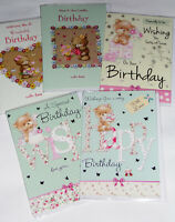 BABY GIRL HANDMADE CARDS SUPER SIZE X 6 WRAPPED - B313 JUST 59p