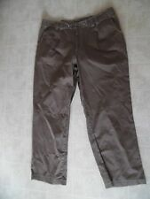 Women Pant 1X Brown Solid Casual  Elastic Waist  Cotton Blend Pants JMS