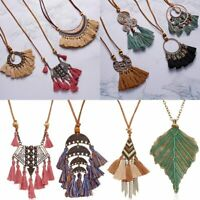 Retro Boho Tassels Bib Bohemia Pendant Necklace Leather Long Chain Women Party