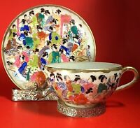 VINTAGE ASIAN CUP AND SAUCER GEISHA GIRLS HAND PAINTED PORCELAIN GOLD GILT