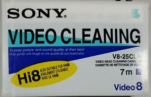 Factory Sealed Sony 8mm Hi8 Video Head Cleaning Cassette V8-25CLH