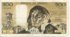 BILLET BANQUE 500 Frs PASCAL 02-12-1971 B B.27 TTB 829