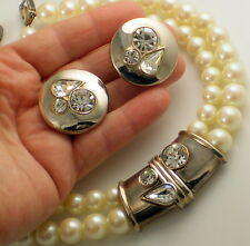 Pearl Necklace & Earring Set Vintage Signed Givenchy Paris New York