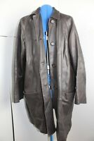 Jaeger Vintage Leather long Jacket brown large
