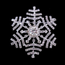5cm Lovely Snowflake White Clear Use Austria Crystal Brooch Pin Christmas Xmas