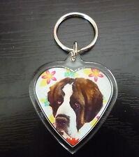 St Bernard Saint Bernard Dog Gift Keyring heart shaped gift Valentine