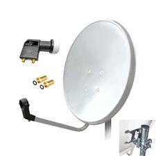 80cm HD Sat Anlage Digital Twin LNB 2 Teilnehmer Schüssel Antenne Spiegel 4K UHD