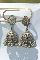 Victorian Rare Vintage  Silver tone Many Dangles Clip On Earrings UNIQUE