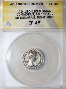 Commodus 180-183 AD AR Silver Denarius Ancient Roman Coin ANACS EF45